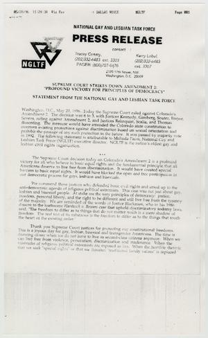 Primary view of object titled '[Press Release: Supreme Court strikes down amendment 2]'.
