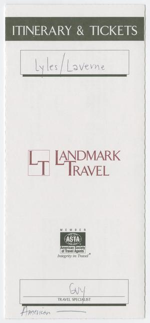 Primary view of object titled '[Travel itinerary: Lyles Laverne]'.