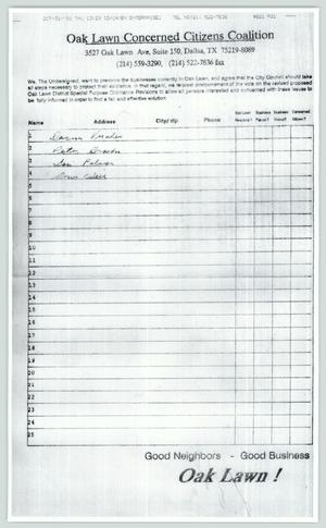 Primary view of object titled '[Copy of petition: Oak Lawn Concerned Citizens Coalition]'.
