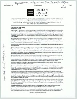 Primary view of object titled '[Press Release: Huge Victory in Vermont - State Supreme Court rules same-sex couples entitled to equal benefits and protections]'.