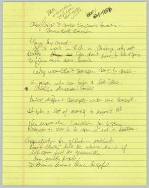 Primary view of object titled '[Handwritten Notes: Gary Decker's restaurant]'.