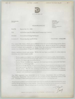 Primary view of [Memorandum concerning water quality and cryptosporidium]