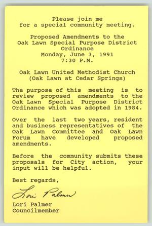 Primary view of object titled '[Invitation: Proposed Amendments to the Oak Lawn Special Purpose District Ordinance]'.