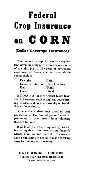 Primary view of object titled 'Federal crop insurance on corn : (dollar coverage insurance)'.