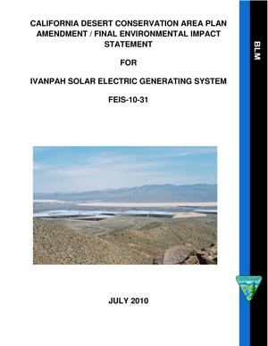 Primary view of object titled 'California Desert Conservation Area Plan: Amendment / Final Environmental Impact Statement for Ivanpah Solar Electric Generation System'.