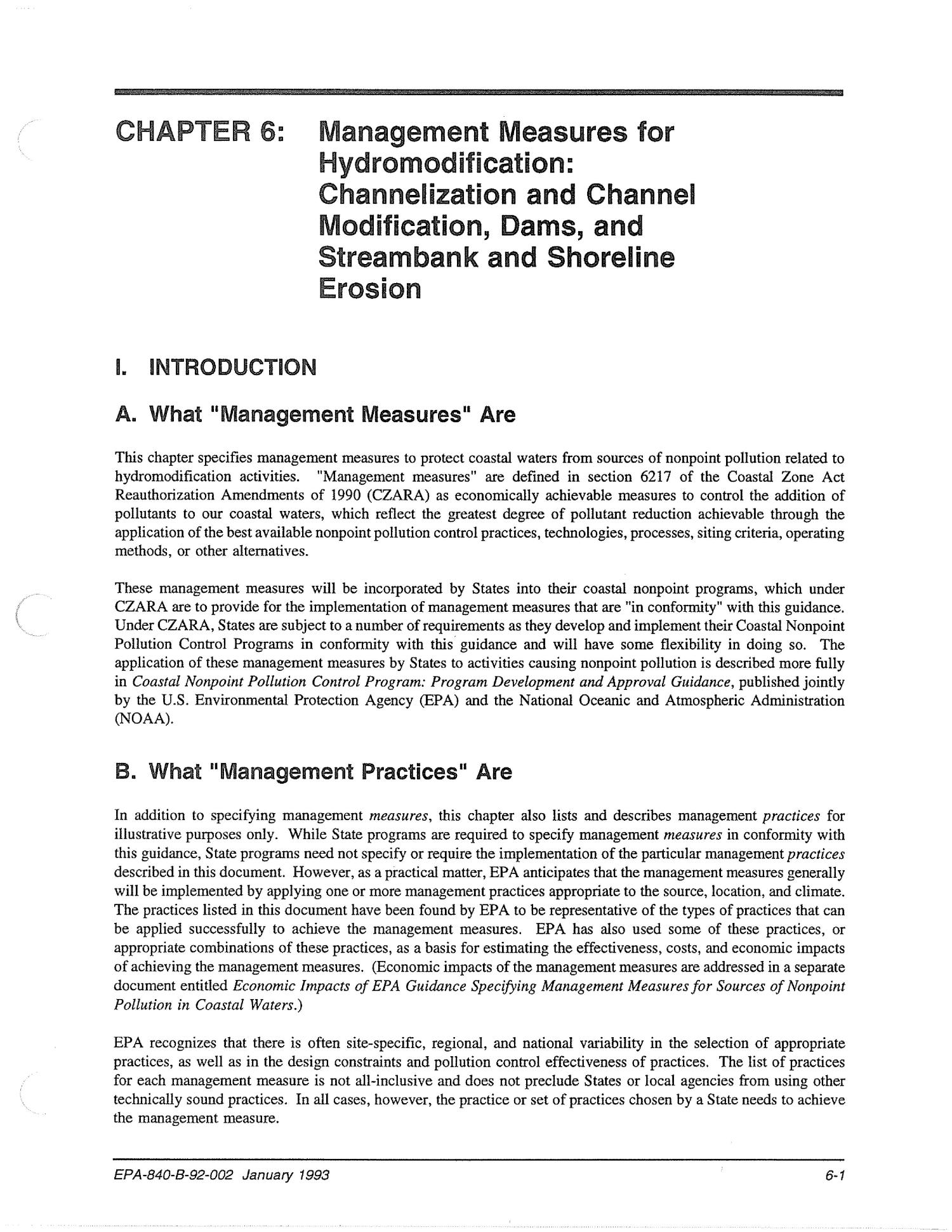 Chapter 6: Management Measures for Hydromodification: Channelization and Channel Modification, Dams, and Streambank and Shoreline Erosion                                                                                                      [Sequence #]: 1 of 110