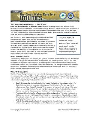 Primary view of object titled 'The Clean Water Rule for: Utilities'.
