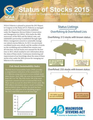 Primary view of object titled 'Status of Stocks 2015: Annual Report to Congress on the Status of U.S. Fisheries'.