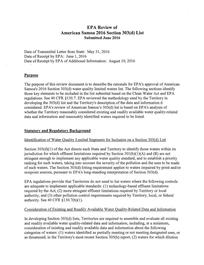 EPA Review of American Samoa 2016 Section 303d List Digital Library