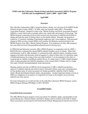Primary view of object titled 'NMFS Auke Bay Laboratory Marine Ecology and Stock Assessment (MESA) Program Activities and Accomplishments, April 1, 2008 - April 1 2009'.