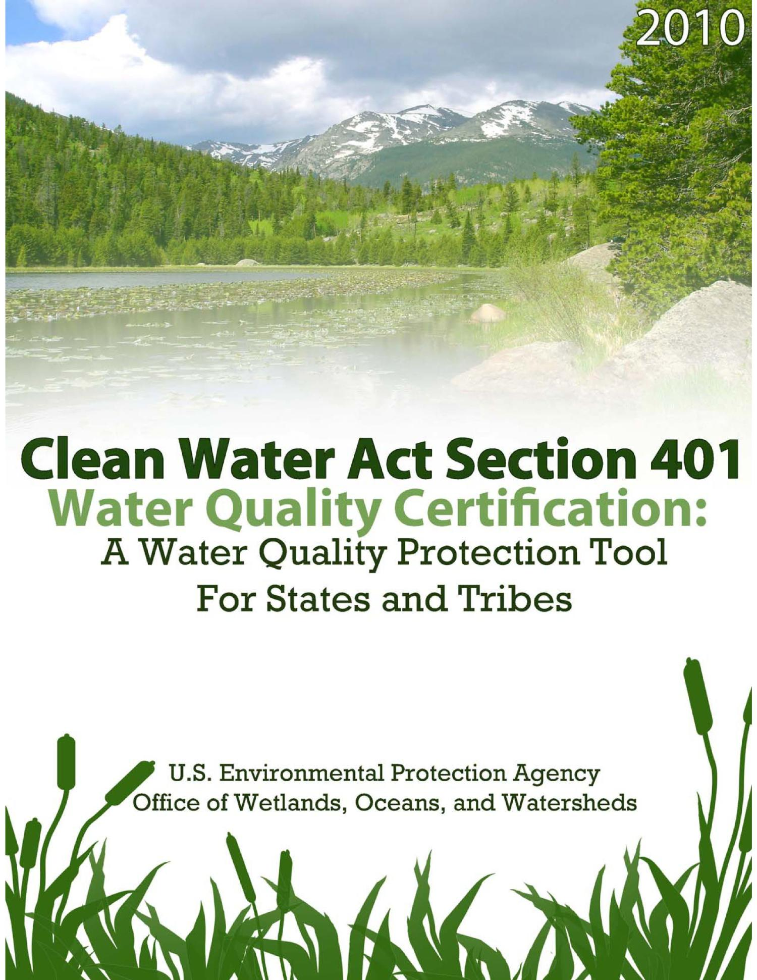 Clean Water Act Section 401 Water Quality Certification: A ...