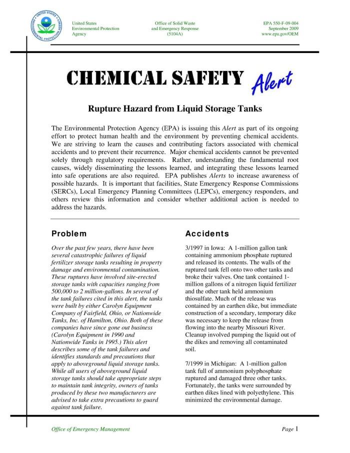 Chemical Safety Alert: Rupture Hazard from Liquid Storage