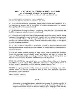 Primary view of object titled 'Convention on the Prevention of Marine Pollution by Dumping of Wastes and Other Matter'.