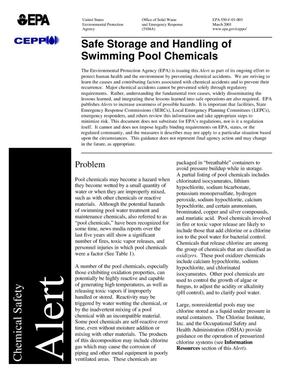 Primary view of object titled 'Safe Storage and Handling of Swimming Pool Chemicals'.