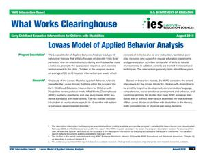 Primary view of object titled 'What Works Clearinghouse Intervention Report: Lovaas Model of Applied Behavior Analysis'.