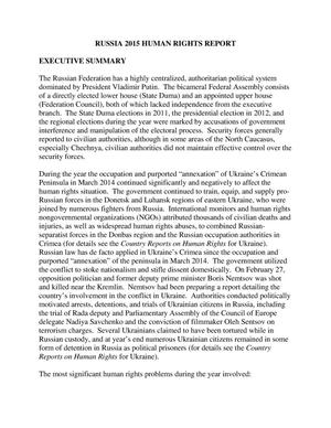 Primary view of object titled 'Russia 2015 Human Rights Report'.