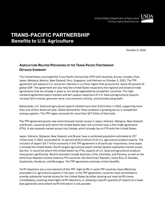 Agriculture Related Provisions Of The Trans Pacific Partnership