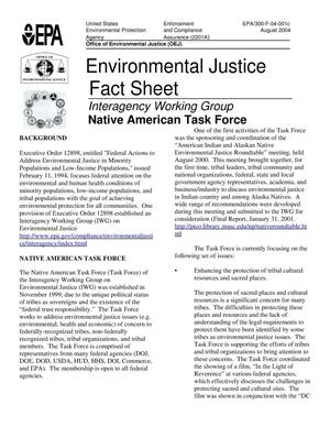 Primary view of object titled 'Environmental Justice Fact Sheet. Interagency Working Group. Native American Task Force'.