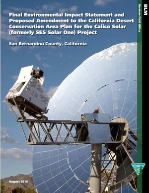 Primary view of object titled 'Final Environmental Impact Statement and Proposed Amendment to the California Desert Conservation Area Plan for the Calico Solar (formerly SES Solar One) Project'.