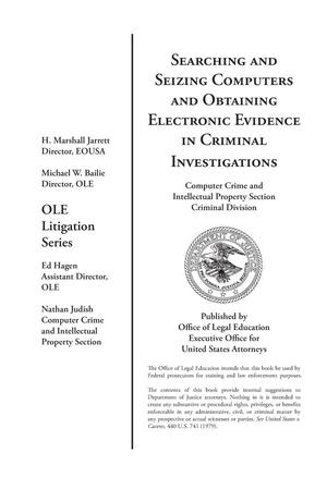 Primary view of object titled 'Searching and Seizing Computers and Obtaining Electronic Evidence in Criminal Investigations'.