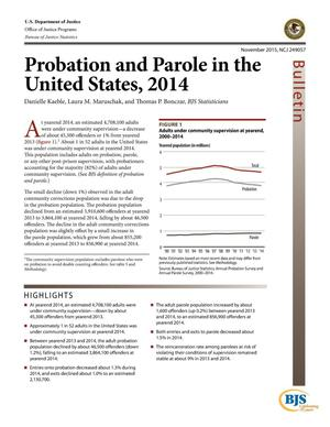 Primary view of object titled 'Probation and Parole in the United States, 2014'.