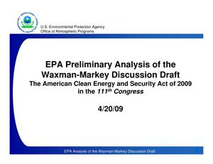 Primary view of object titled 'EPA Preliminary Analysis of the Waxman-Markey Discussion Draft'.