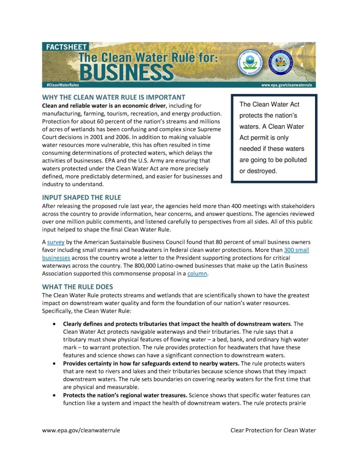 The Clean Water Rule for: Business - Digital Library