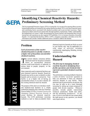 Primary view of object titled 'Identifying Chemical Reactivity Hazards: Preliminary Screening Method'.