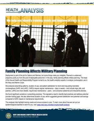 Primary view of object titled 'Health Analysis: Family Planning Affects Military Planning'.