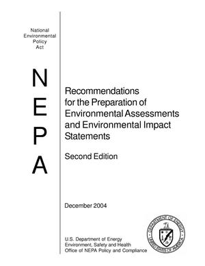 Primary view of object titled 'Recommendations for the Preparation of Environmental Assessments and Environmental Impact Statements'.