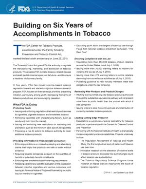 Primary view of object titled 'Building on Six Years of Accomplishments in Tobacco'.