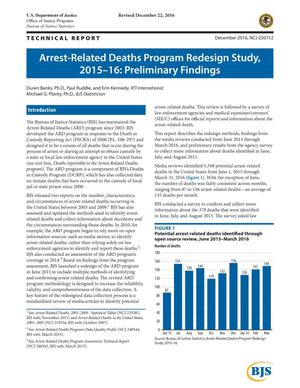 Primary view of object titled 'Arrest-Related Deaths Program Redesign Study, 2015-16: Preliminary Findings'.