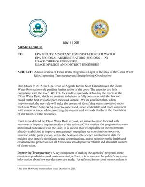 Primary view of object titled 'Memorandum: Administration of Clean Water Programs in Light of the Stay of the Clean Water Rule; Improving Transparency and Strengthening Coordingation'.
