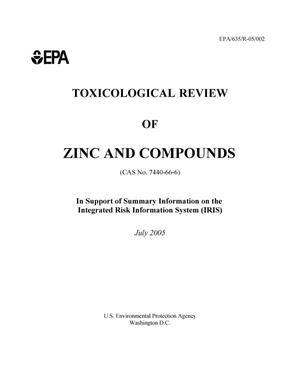 Primary view of object titled 'EPA Toxicological Review of Zinc and Compounds'.