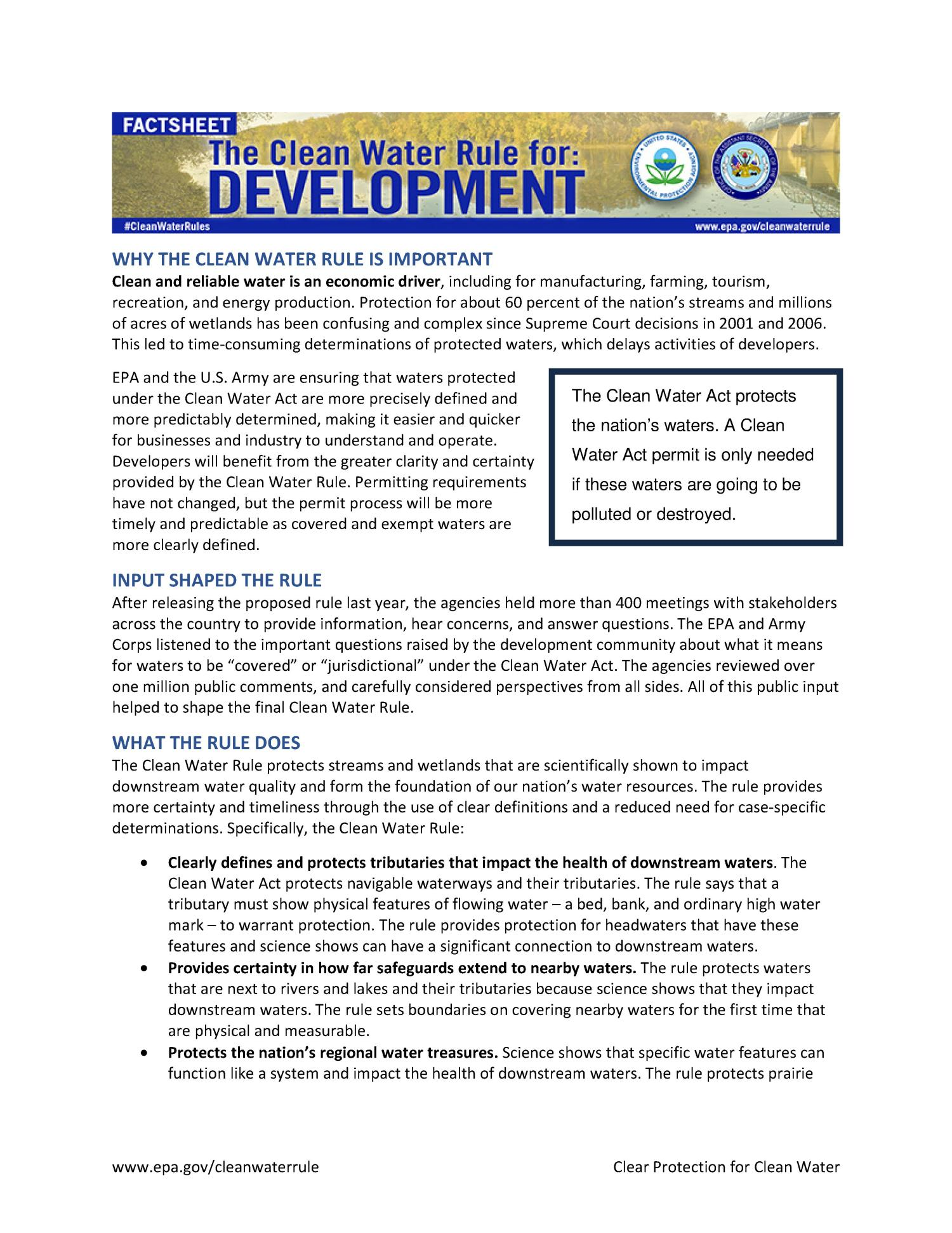 The Clean Water Rule for Development: Factsheet                                                                                                      [Sequence #]: 1 of 2