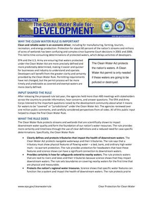 Primary view of object titled 'The Clean Water Rule for Development: Factsheet'.