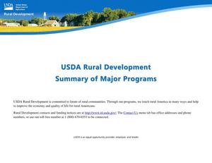 Primary view of object titled 'USDA Rural Development Summary of Major Programs'.