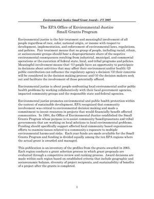 Primary view of object titled 'Environmental Justice Small Grant Awards FY 2005'.