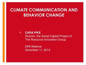 Primary view of object titled 'Climate Communication and Behavior Change'.