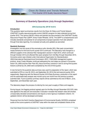Primary view of object titled 'Summary of Quarterly Operations (July through September)'.
