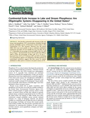 Primary view of object titled 'Continental-Scale Increase in Lake and Steam Phosphorus: Are Oligotrophic Systems Disappearing in the United States?'.