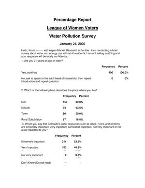 Primary view of object titled 'League of Women Voters: Water Pollution Survey'.