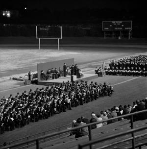 Primary view of object titled '[Commencement Ceremony on Fouts Field, 1]'.