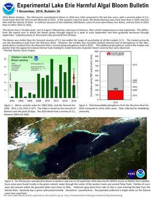 Primary view of object titled 'Experimental Lake Erie Harmful Algal Bloom Bulletin 30, November 1, 2016'.