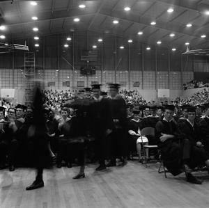 Primary view of object titled '[Motion of Students In Line Waiting to Receive Their Diplomas]'.