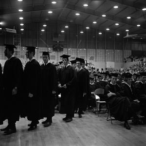Primary view of object titled '[Young Men in Line to Receive Diplomas, 2]'.