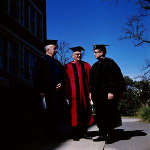Primary view of object titled '[Faculty in Graduation Regalia for Commencement Ceremony, 4]'.