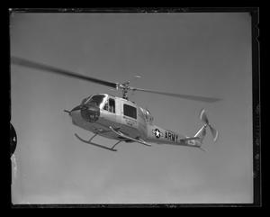 Primary view of object titled '[The Bell YH-40 helicopter in flight]'.