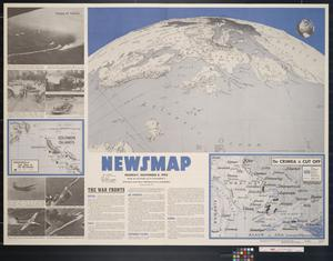 Primary view of object titled 'Newsmap. Monday, November 8, 1943 : week of October  28 to November 4, 217th week of the war, 99th week of U.S. participation'.