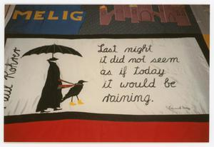 Primary view of object titled '[Quilt Panel with Picture and Quote]'.